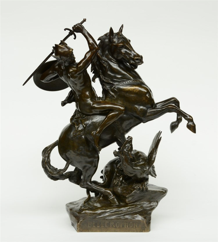 Picault E., 'Bellerophon', an imposing period cast bronze sculpture, extra