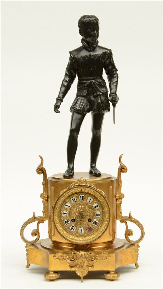 A last quarter of the 19thC bronze and gilt bronze French mantel clock, on