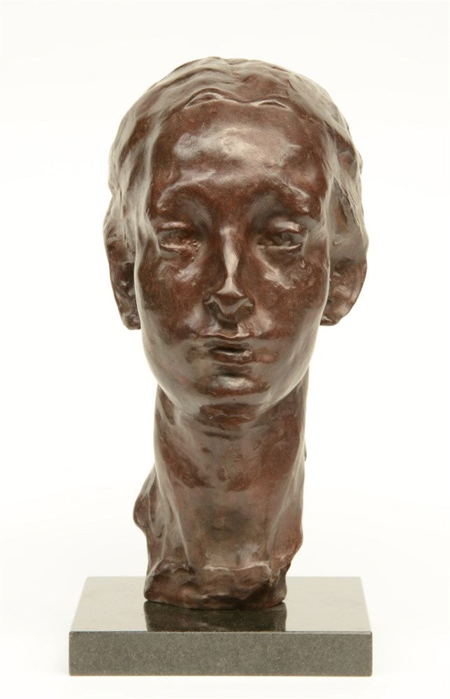 Wouters R., portrait of Nel (Mrs. Wouters), bronze, mounted on granite base