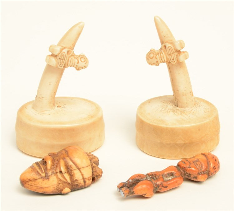 Four various 19thC ethnografical bone and mammoth-ivory sculptures, H 9,9 -