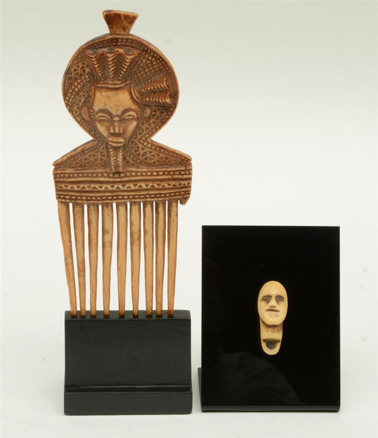 Ethnographical bone comb (African? - 19thC?), on a base; added an ethnograp