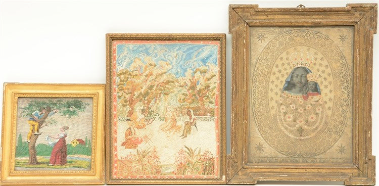 'the Cherry Pickers', a 19thC bead embroidered scene; added a 19thC Persian