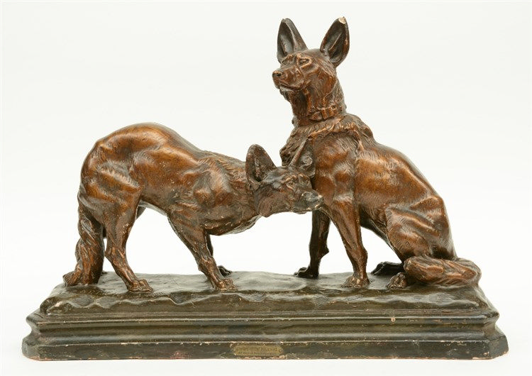 Coutier T., dogs, a bronze patinated terracotta sculpture, 1930s, H 39,5 -