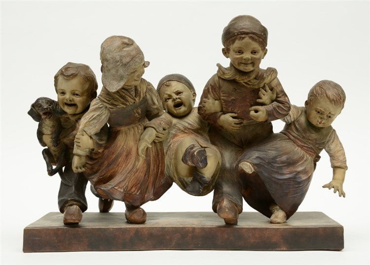 Guradze, childrens merriment, polychrome painted terracotta, H 41,5 - W 56,