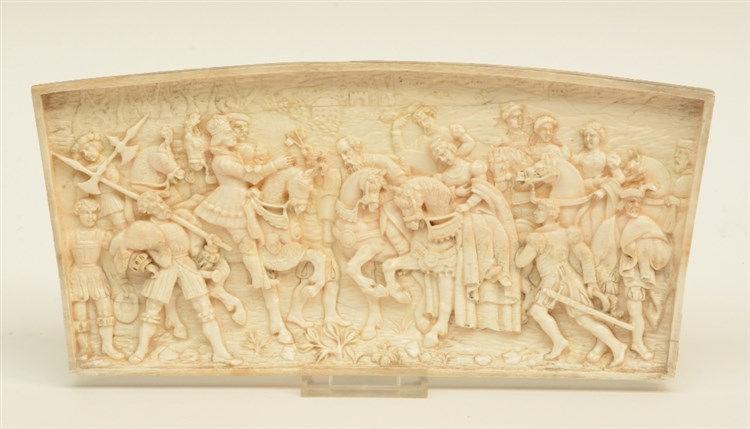 Unsigned, a renaissance revival ivory alto relievo depicting a royal bridal