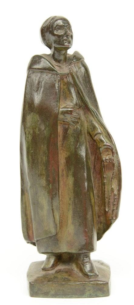 Poppe M, a devote Flemish woman, bronze, H 21cm