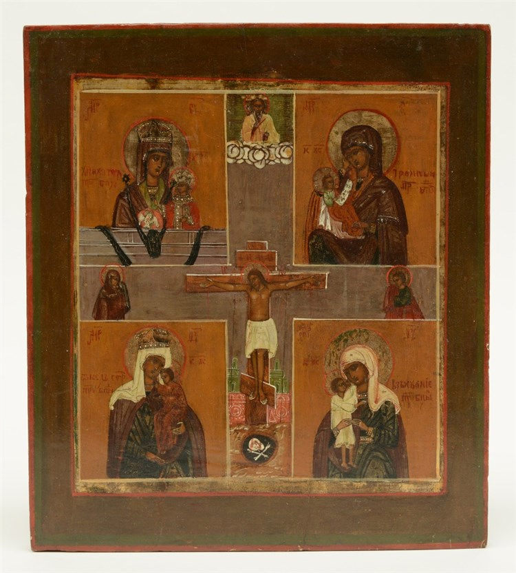 An Eastern Europe icon, 19thC,H 35 - W 31 cm