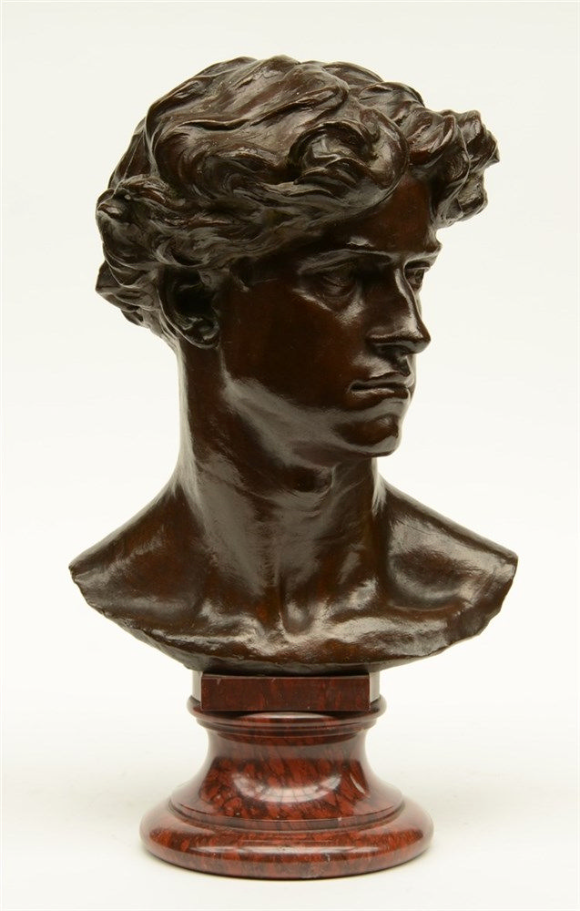 Van Biesbrouck L., the portrait of a lad, bronze on a Rouge Napoleon marble