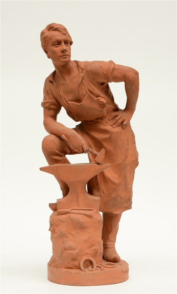 Van den Bossche D., the young blacksmith, terracotta, dated 1898, H 61cm (t