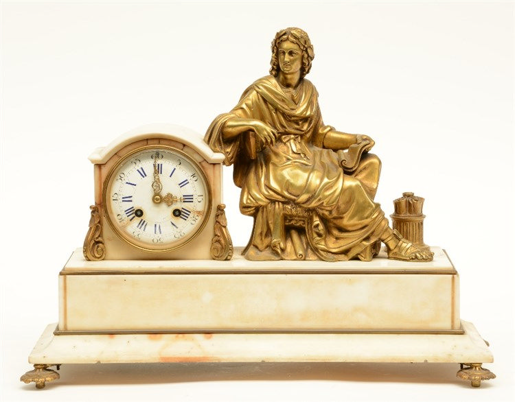 A late 19thC white Carrara marble mantel clock with gilt bronze mounts, on