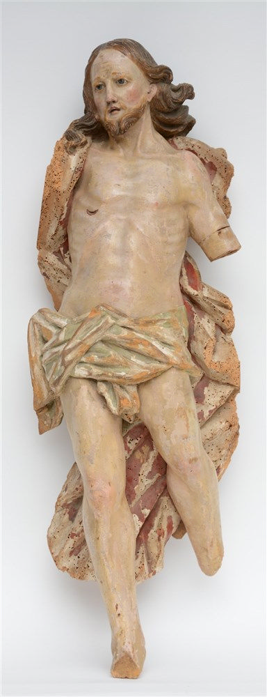 A late 17thC - early 18thC Low Countries polychrome painted Corpus Christi,
