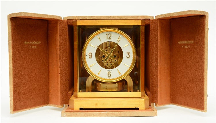 Jaeger - LeCoultre Atmos table clock, in its original cassette, H 23,5 - W