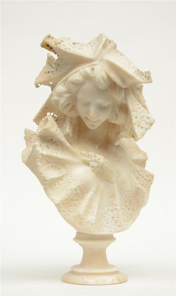 Cipriani G., alabaster bust of a girl, late 19thC, H 55 cm(restored)