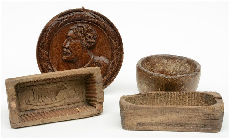 Three 18thC Low Countries wooden butter molds; added a 17thC oak tondo, H 9