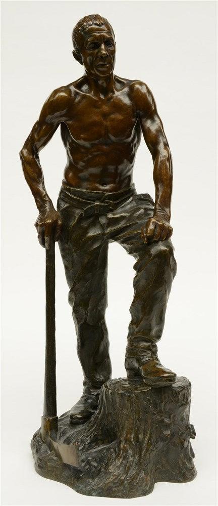 Richer P., a logger, bronze, late 19thC, H 61 cm