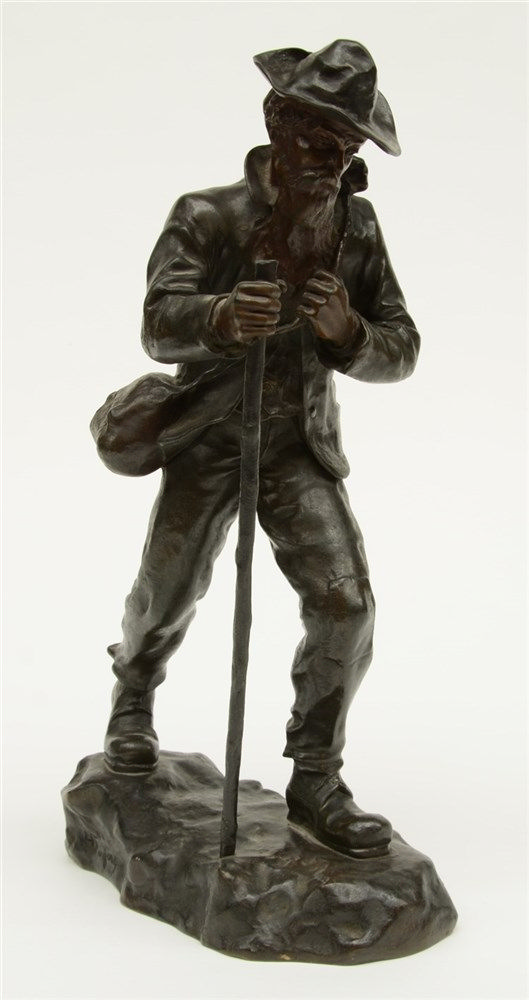 Fugerey H., a tramp, brown and green patinated bronze, late 19thC, H 37 cm