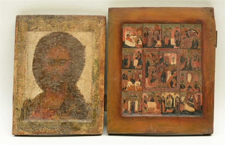 Two Eastern Europe icons, 19thC, 23 x 30 - 26,5 x 31 cm