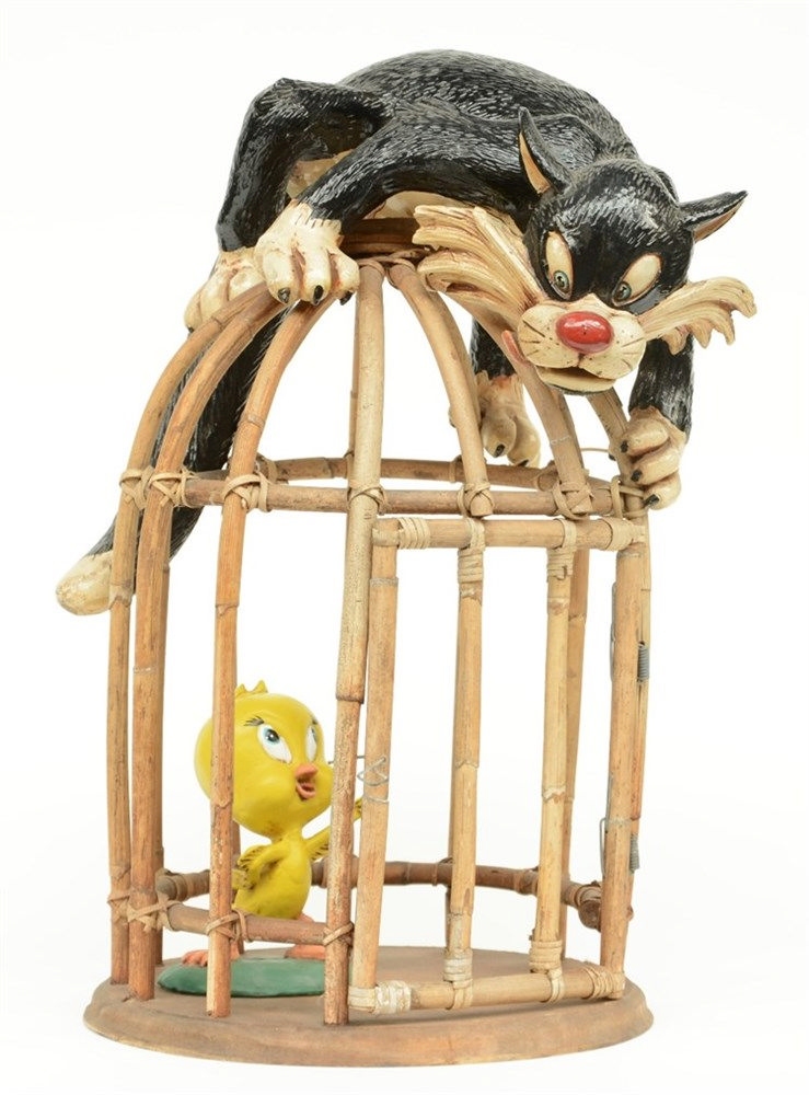 Tweety and Sylvester, polychrome resin, bamboo and board, 1950s, H 51,5 cm