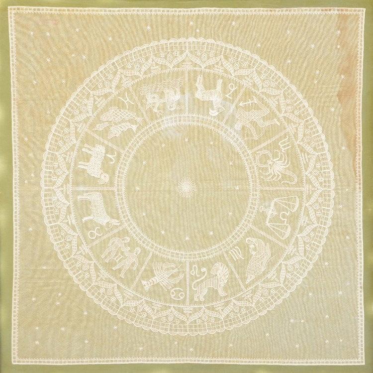 A late 19thC lace work depicting the zodiac, 105 x 103 cm (some moisture da