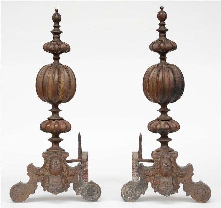 A pair of Baroque style bronze andirons, 19thC, H 73,5 - D 54 cm