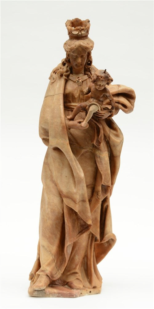 A 17thC alabaster Holy Virgin and Child, Low Countries, H 68 cm (damage and