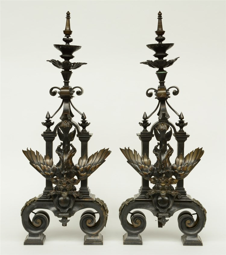 A pair of 19thC patinated bronze andirons, decorated with dragons, H 81 - W