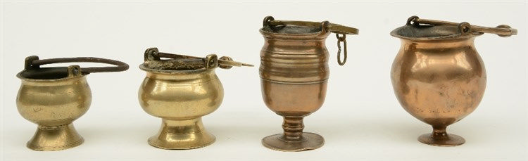 Four bronze Holy Water fonts, 16thC and 17thC, H 13,5 - 16 cm