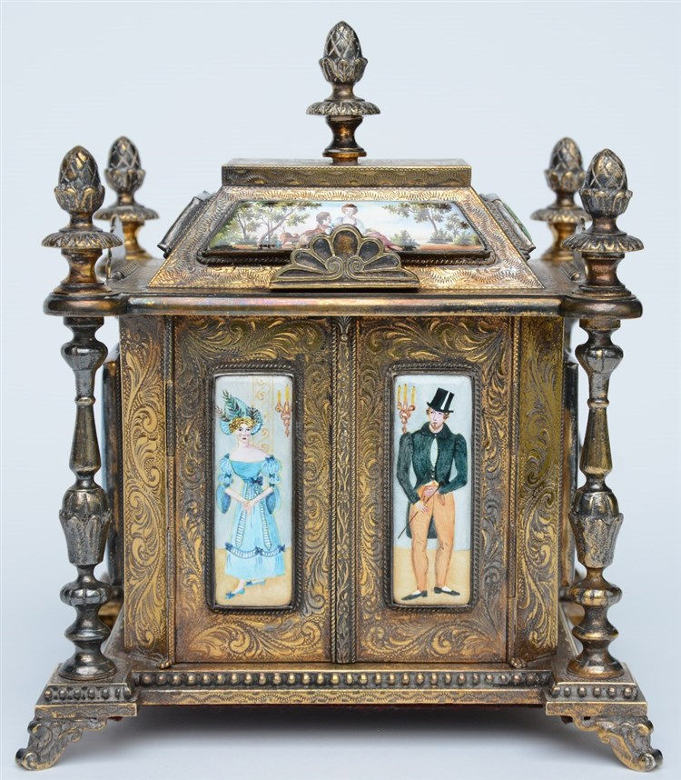 A Neo-Renaissance style silver music and jewelry box with enamel decorated
