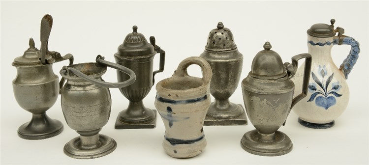 A lot: three pewter mustard pots, a caster and a Holy Water font, some mark