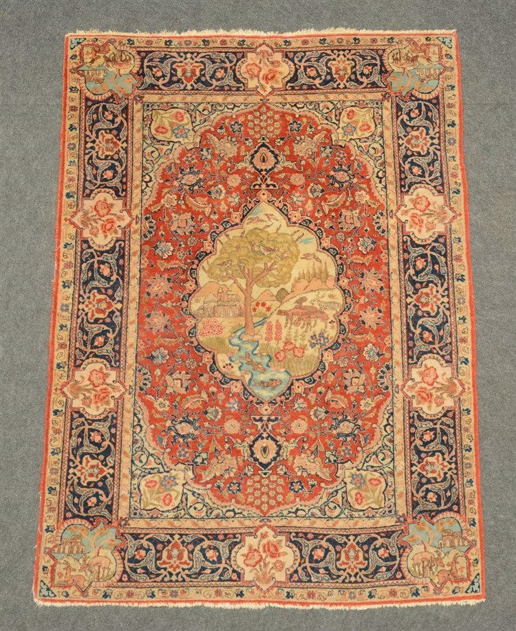 Oriental rug with various roundels, floral motifs and a garden scene, 137,5