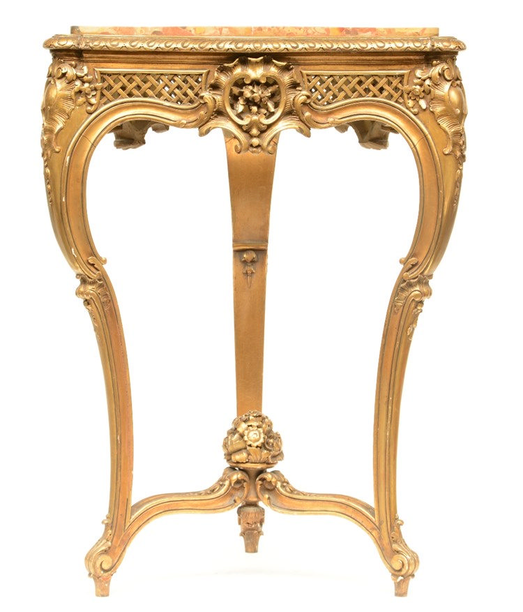 A triangular LXV style gilt wooden occasional table with a 'brèche d'Alep'