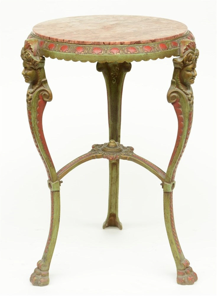 Neoclassical polychrome decorated cast iron occasional table with 'brèche'
