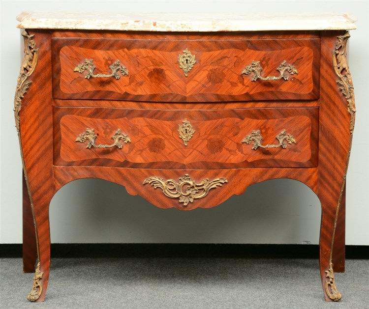 A mahogany veneered and marquetry LXV style commode, brass mounts and a Ros