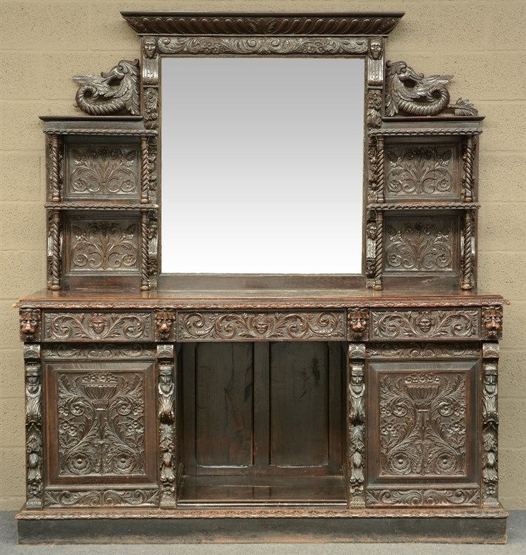 A richly carved oak late Victorian renaissance revival cupboard, H 200 - W
