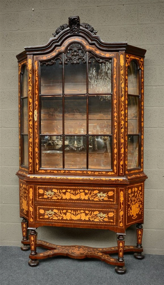 A Dutch rosewood and floral marquetry veneered china display cabinet, H 219