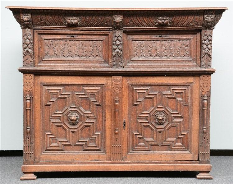 A 17thC Flemish oak renaissance style cupboard, H120,5 - W 150 - D 64 cm