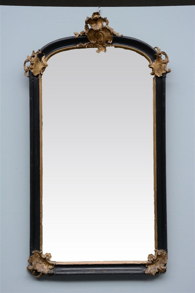 A Rococo style and period sculpted wood wall mirror, H 148 - W 83 cm