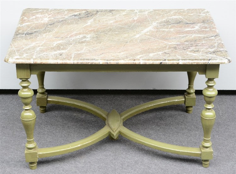 A late 19thC polychrome painted table with a faux marble top, H 72,5 - W 12