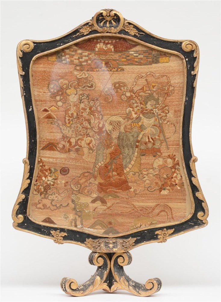 An early Rococo period polychrome painted and gilt fireplace screen, the sc