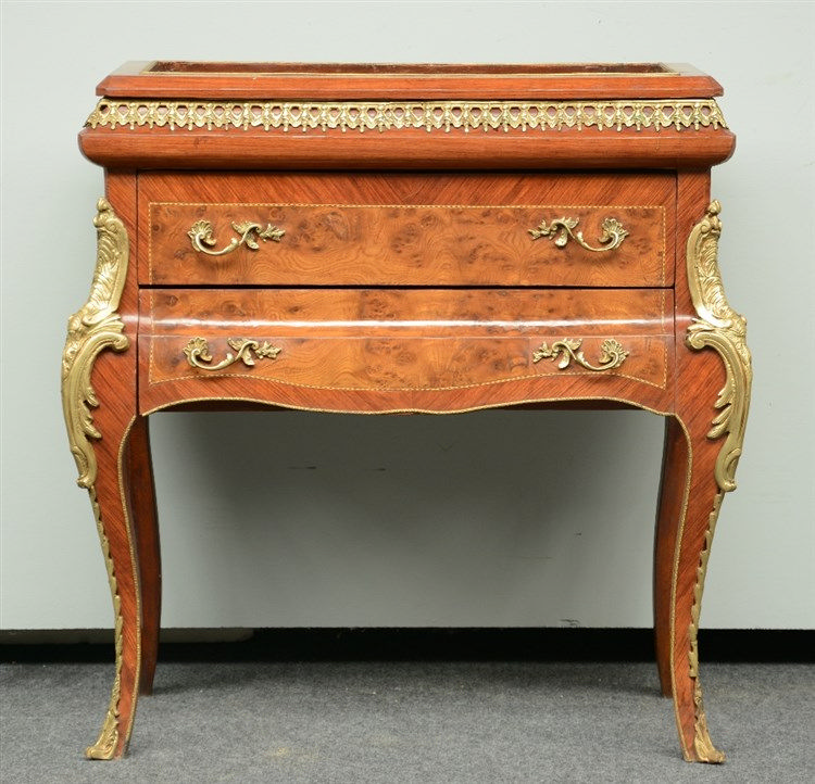 A LXV-style neoclassical rosewood and walnut veneered commode-vitrine, with