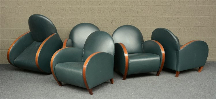 Five armchairs of the Art Deco type with green leather uphostering, H 77 -