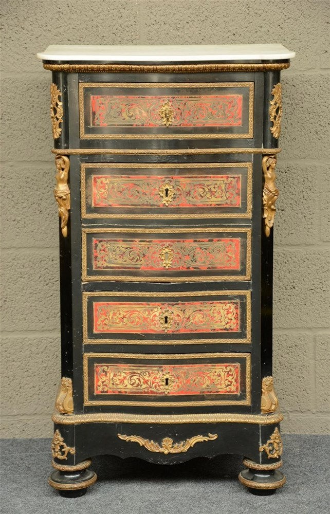 A Nap. III ebonised Boulle work chest of drawers with gilt bronze mounts an