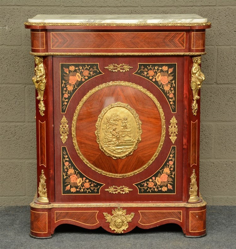 A Nap. III mahogany and rosewood veneered cabinet with marquetry, gilt bron