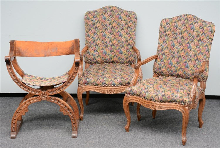 A pair of LXV style carved oak armchairs; added a Renaissance style oak Dan
