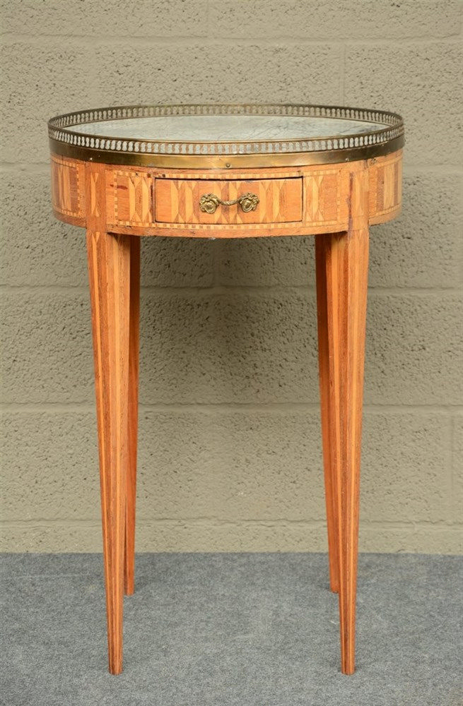 A 19thC Neoclassical bouillotte table, with marquetry and parquetry, bronze