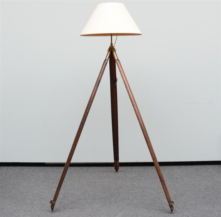 A decorative floor lamp with a 19thC tripod feet, H 183 cm