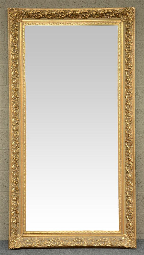 A gilt hall mirror, H 216,5 - 113,5 cm