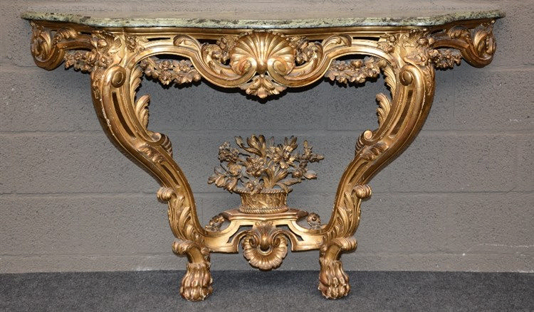 A early Rococo style richly carved gilt wooden wall console table, 19thC, H