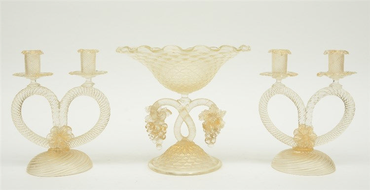 A Venetian glass table garniture, slightly gilt decorated, 1930s, H 24 - 24