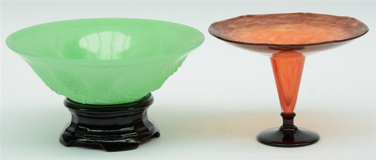 An Art Deco and period colored glass bowl (probably Jobling - 'Farcone' range) and a dito vase, probably French,